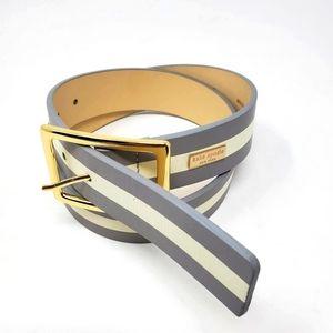 Kate Spade Leather Striped Hardware Wide Belt